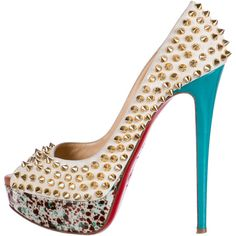 Christian Louboutin Studded 'Lady Peep' Pumps ($625) ❤ liked on Polyvore featuring shoes, pumps, pattern prints, platform pumps, christian louboutin shoes, multi color platform pumps, peep toe platform pumps and suede shoes