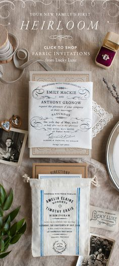 www.lucky-luxe.com — the original fabric wedding invitation collection | Heirloom wedding invitations screen printed by hand on 100% cotton handkerchiefs and miniature grain sacks to announce and celebrate the beginning of your new family's story. Click here to shop the history-inspired collection including Rustic and Market (shown above) at www.lucky-luxe.com/collection/.
