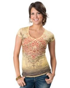 Katydid Collection® Women's Light Yellow Burnout with Embellished Baroque V-Neck Short Sleeve Tee