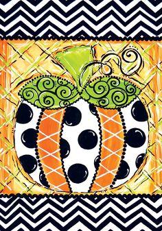 Custom Decor Flag - Patterned Pumpkin Decorative Flag at Garden House Flags Fall Garden Flag, Autumn Garden, Garden Flags, Pumpkin Garden, Pumpkin House, Autumn Painting, Autumn Art, Fall Paintings, Fall Crafts