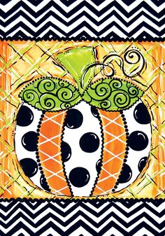 """""""Patterned Pumpkin"""" with Polka Dots 12""""x18"""" Fall Garden Flag"""
