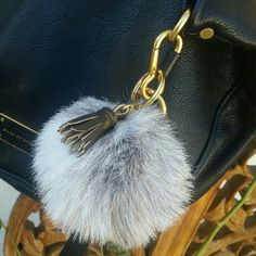 Fur pompom/ball keychain with canvas tassel Handmade faux fur pompom/ball keychain keyring or keycharm. Fur and canvass tassel are made of high quality repurpose materials. Fur backing is made of woven fabric, it will feel sturdy compare to real fur pompoms. Fur dimension is ABOUT 4 inches, size may be off a few mm.   (No.1 inventory) unbranded Accessories Key & Card Holders