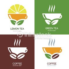 Vector Art : Set of vector green tea and coffee flat logo icons.