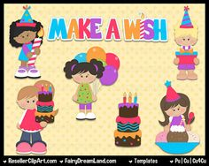 It's My Birthday Girls Psd Templates - Commercial Use Layered Psd - Cu4Cu Photoshop CS & Elements - Party, Ice Cream, Cake, Word Art