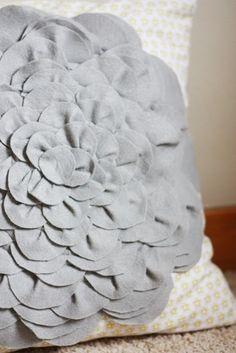 Grey Flower Pillow DIY