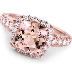 Peach Pink Morganite Diamond Halo Rose Gold Engagement Ring