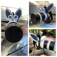 Zebra kid's sculpture (work in progress) made from an old tire, random PVC…