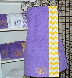Monogrammed Towel wrap with a Chevron Trim...so cute AND its in LSU colors!