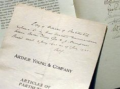 Arthur Young & Company articles of partnership. #EY