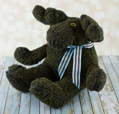 Plush Moose  Brown and Yellow Faux Fur by DancingFerretCrafts