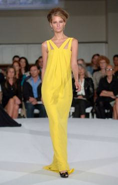 """SLINKY COLUMN GOWN-  - Simple textures and technically brilliant structures, like the gown by Oscar de la Renta, make this a simple and yes, """"patternless"""" couture project."""