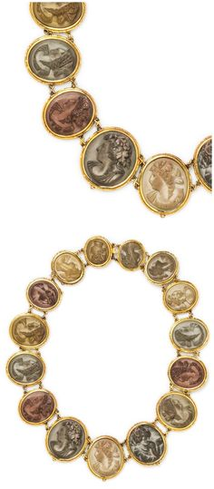An antique Victorian Yellow Gold and Lava Cameo Necklace, Circa 1860.