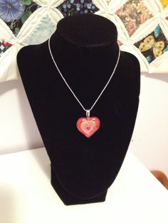 Valentine Sale!  Red and Pink Valentine Heart Necklace. $8.95, via Etsy.