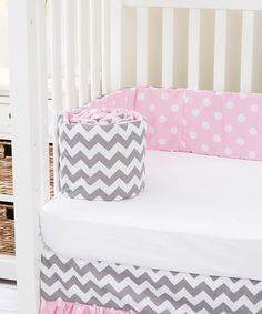 Look at this Rockingham Road Pink & Gray Zigzag Reversible Bumper on #zulily today!