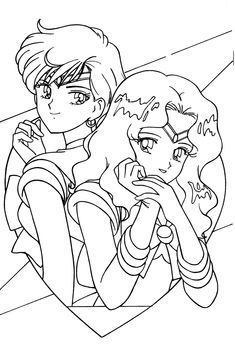 Sailor Neptune and Sailor Uranus Coloring Page // # ...