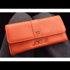 """Selling this """"Joe's Jeans orange faux leather salute snap wallet"""" in my Poshmark closet! My username is: crazyposh. #shopmycloset #poshmark #fashion #shopping #style #forsale #Joe's Jeans #Clutches & Wallets"""