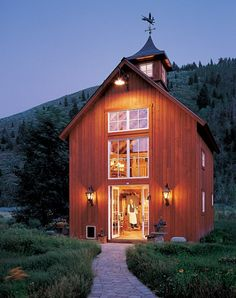 #goosenecklights #lanterns barns make the prettiest houses.....this is my dream guest house! When we build our dream home it will be inspired by several things one of them being our love for old barns....this is a gorgeous little barn home! Perfect for a guest house! LOVE!