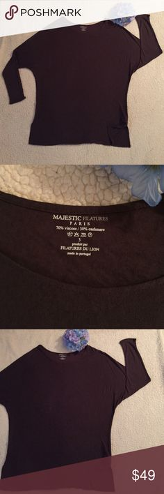 """Majestic Filatures top Beautiful soft dolman sleeve tee is made of 70% viscose 30% cashmere. Chocolate brown. Measures approximately 22"""" across and 29"""" long. Majestic Filatures Tops Tees - Long Sleeve"""