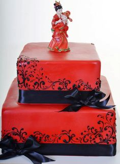 Wedding Cakes | Pastry Palace Las Vegas Cake #1229 - Chinese Wedding in red and black.