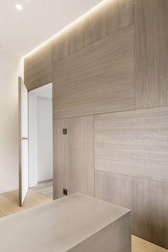 Millwork, simple wooden wall panels modern white minimalist interior architecture
