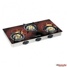 Butterfly Reflection 3 Burner Auto Ignition Flora Glass Gas Cooktop-SPL EDN