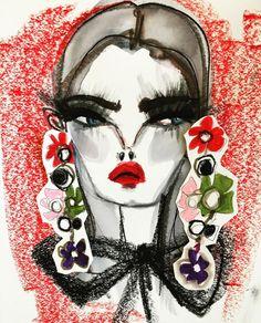 Our flower pearl drop earrings by  Blair Breitenstein #Spring16