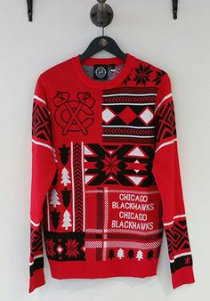 It might not be sweater weather yet, but prepare for the holidays with this Men's Klew Ugly Sweater! #Blackhawks