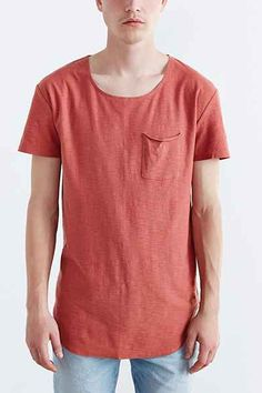 Feathers Short-Sleeve Slub Curved Hem Tee - Urban Outfitters  under layer