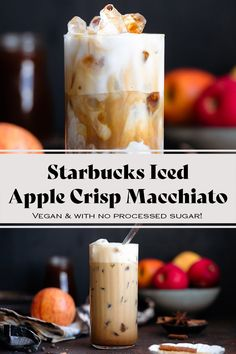 Are you a Starbucks fan? This delicious Starbucks Copycat Iced Apple Crisp Macchiato is packed with warming spices and perfect for fall! It's completely vegan and has less sugar than the original at Starbucks! You NEED to try it this fall. It can be made both iced and hot! Drink Recipes Nonalcoholic, Yummy Drinks, Fall Recipes, Whole Food Recipes, Tequila, Vodka, Brown Sugar Syrup, Starbucks Drinks, Coffee Drinks