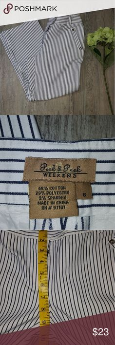 NWOT Peck & Peck Ankle Length Pants Size 6 White pants with blue stripes. Size 6. Brand is Peck and Peck. Measurements and Care instructions in pics.  Gromets on front and back pockets which gives these pants a nautical feel. New without tags. No rips, holes, or stains. Peck & Peck Pants Ankle & Cropped