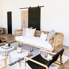 Rattan couch and leather sling chairs