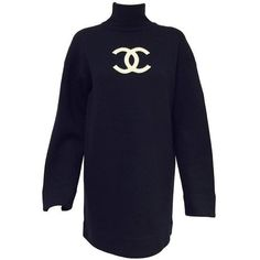 Preowned Chanel Navy Blue Wool Varsity Pullover Sweater Dress With... ($1,895) ❤ liked on Polyvore featuring white and karl lagerfeld