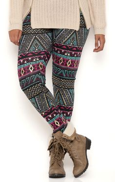 Deb Shops Plus Size Tribal Print Knit Leggings with Gold Foil $12.00