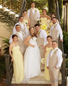 © Favorite Photography | Bridal Party Photo on Stairs | Nocatee Crosswater Hall
