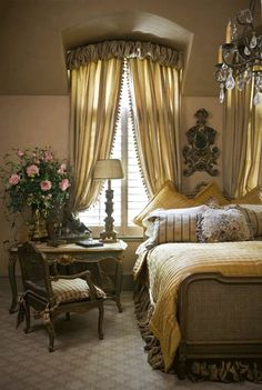 French master bedroom...warmed up with fabric by Nobilis for the draperies and bed skirt...Kim Brockinton