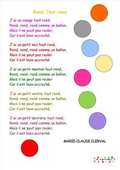chansons/comptines Page 6 MC en maternelle French Poems, French Nursery, Kids Poems, Children Songs, French Education, French Classroom, Self Massage, Petite Section, French Lessons