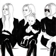 "Hodaya Louis illustration: ""Glam front row ❤ pencil + ink commissioned illustration for @fashiontomax magazine #nyfw16"""