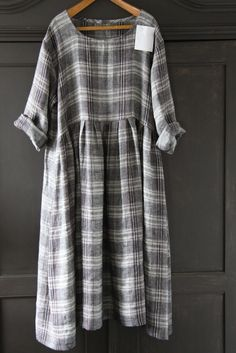 CUSTOM LISTING....... Linen Plaid Dress. £105.00, via Etsy.