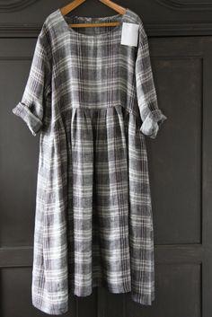 CUSTOM LISTING....... Linen Plaid Dress. £105.00, via Etsy. ~ Very similar to the solid wheat coloured linen dress I already have...