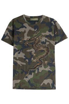 Valentino Embroidered Cotton Camo Print T-Shirt