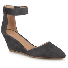 Women's Journee Collection Kova Faux Suede Ankle Strap Pointed Toe Wedges - Grey 6