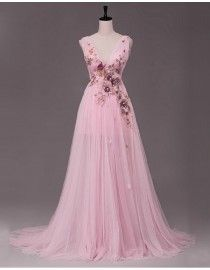 Stunning sexy deep v-neck gold lace appliques swarovski beaded sheer skirt pink evening party prom dresses 2015 PW5-026