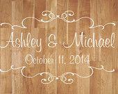 Wedding Dance Floor Decal- Wedding Dance Floor Decal With Scrolls- Vinyl Decor Reception Party Decor