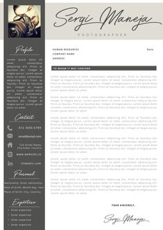 Creative professional Resume + Cover letter Template Editable for MS Word - Curriculum Vitae - English CV with Fonts included - Resume Cover Letter Template, Cv Template, Letter Templates, Resume Templates, Professional Resume, Human Resources, Company Names, Good Mood, Lorem Ipsum