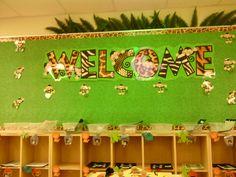 Welcome Bulletin Board in my jungle classroom.