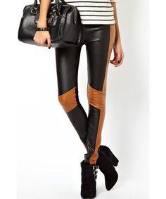 Chic Color Block High Waist PU Skinny Leggings For Women