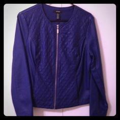 Alfani Pleather Jacket Blue pleather jacket with quilted details and silver zipper.  Fully lined.  NWT Alfani Jackets & Coats