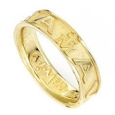 Ring AMEN Hail Mary silver 925, Gold finish | online sales on HOLYART.co.uk