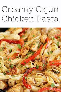 Chicken pasta recipe easy Pasta Recipes For Lunch, Easy Pasta Recipes, Easy Healthy Recipes, Dinner Recipes, Simple Recipes, Healthy Snacks, Easy Meals, Cajun Chicken Pasta, Chicken Pasta Recipes