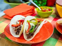 Get Grilled Prime Cheeseteak Tacos Recipe from Food Network/The Kitchen Beef Recipes, Mexican Food Recipes, Cooking Recipes, Ethnic Recipes, Yummy Recipes, Recipies, Jeff Mauro, Pickled Cherries, Pepper Jack Cheese